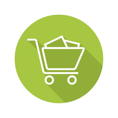 Shopping cart with boxes. Flat linear long shadow icon. Vector line symbol