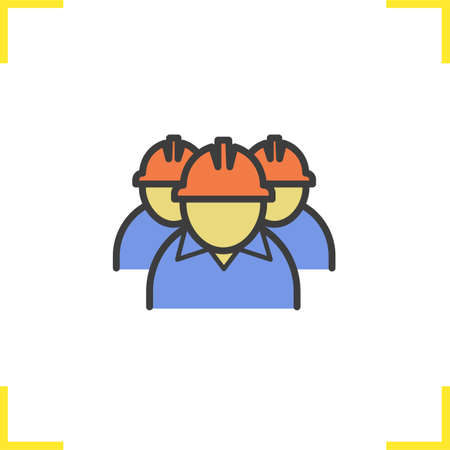 Mine workers color icon. Industrial factory workers. Isolated vector illustration