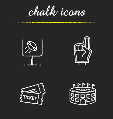 access point: American football chalk icons set. Foam finger, game tickets, baseball arena, goal sign. Isolated vector chalkboard illustrations