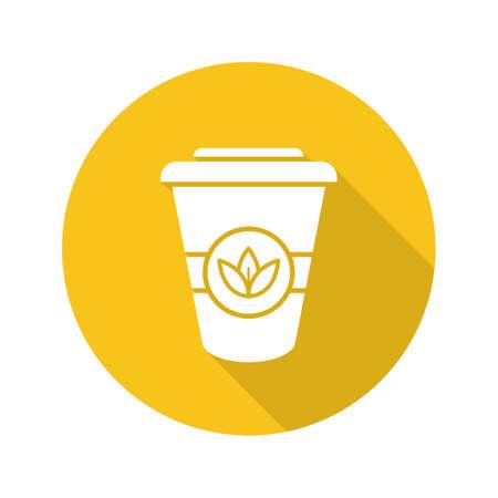 Takeaway tea cup flat design long shadow icon. Tea to go. Vector silhouette symbol