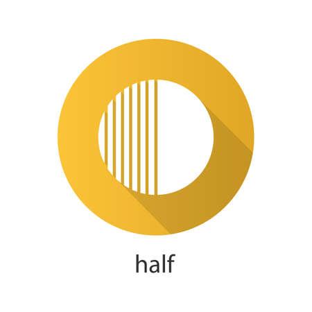 halved  half: Half flat design long shadow icon. Half hatched abstract metaphor. Vector silhouette symbol