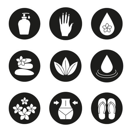 Spa salon icons set. Aroma oil drops, cream, womans hand with manicure, stones massage, loose leaves, flowers, weight loss, flip flops. Vector white silhouettes illustrations in black circles