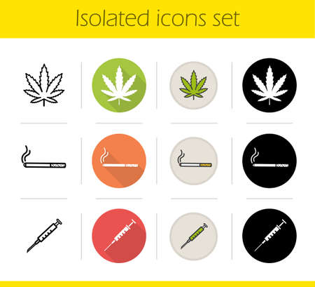 Bad habits icons set. Flat design, linear, black and color styles. Marijuana leaf, cigarette with smoke, syringe. Drugs and smoking addictions. Isolated vector illustrations