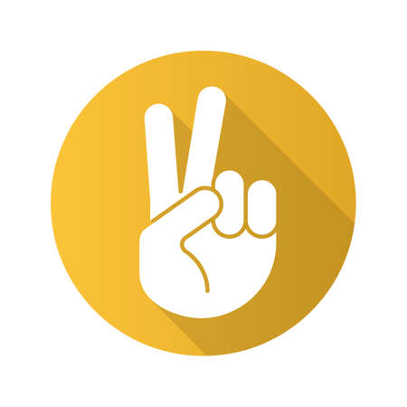 Peace hand gesture. Flat design long shadow icon. Two fingers up. Vector silhouette symbol Illustration