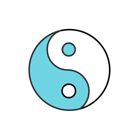 Yin yang color icon. Isolated vector illustration Illustration