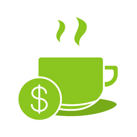 clip art cost: Buy cup of tea glyph color icon. Hot steaming mug with dollar sign. Silhouette symbol on white background. Negative space. Vector illustration