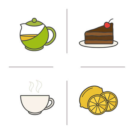 Tea color icons set. Piece of cake on plate, steaming cup, cutted lemon, brewing teapot infuser. Isolated vector illustrations