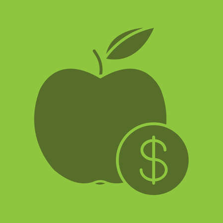 clip art cost: Fruit price glyph color icon. Silhouette symbol. Apple with dollar sign. Negative space. Vector isolated illustration