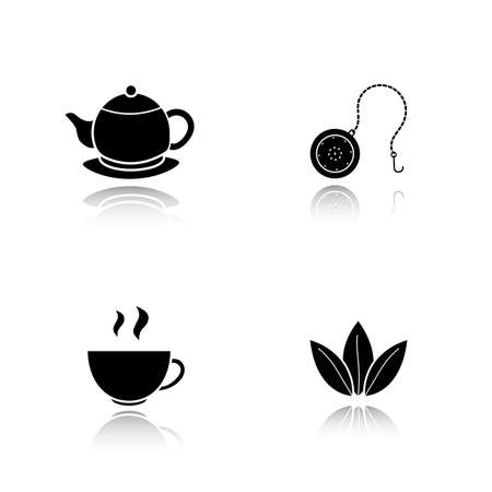 Tea drop shadow black icons set. Steaming cup, teapot on plate, loose tea leaves and ball infuser. Isolated vector illustrations Illustration
