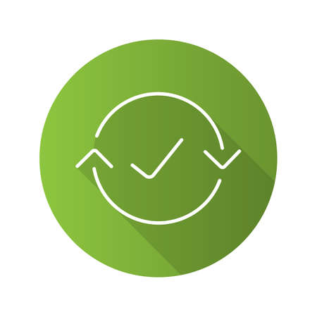 Money exchange complete flat linear long shadow icon. Refund. Vector line symbol