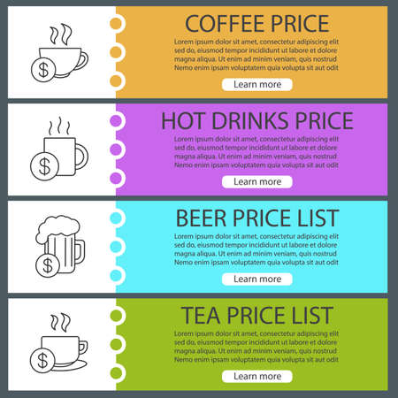 Drinks price lists web banner templates set. Coffee and tea cups, beer mug with dollar signs. Website color menu items with linear icons headers design concepts