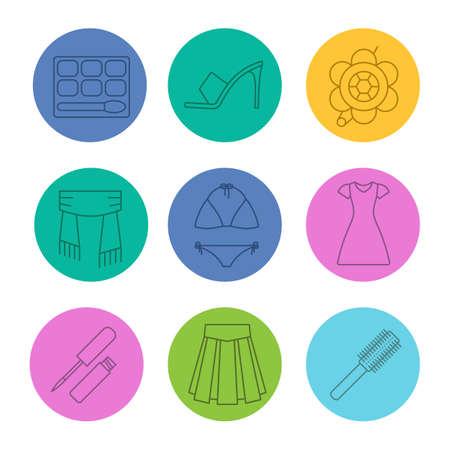 Damesaccessoires lineaire pictogrammen instellen. Oogschaduw, hoge hak schoen, broche, sjaal, badpak, zonrok, lipgloss, rok, haarborstel. Dunne lijncontoursymbolen op kleurencirkels. Vector illustraties