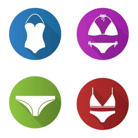 Womens underwear flat design long shadow icons set. Swimsuits, bra and panties silhouette illustration Illusztráció