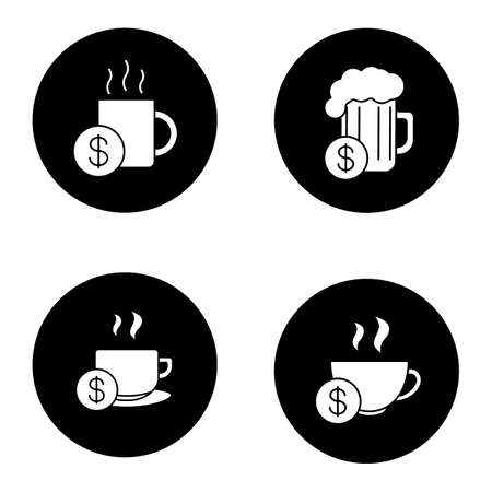 beers: Buy drinks glyph icons set. Beer glass, hot steaming mugs price with dollar sign. Vector white silhouettes illustrations in black circles Illustration