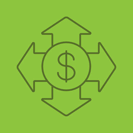 Money spending color linear icon. Expanses. USA dollar with all direction arrows. Thin line outline symbols on color background. Vector illustration