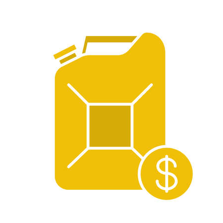 gas can: Petrol trade glyph color icon. Petroleum jerrycan with dollar sign. Silhouette symbol on white background. Negative space. Vector illustration Illustration