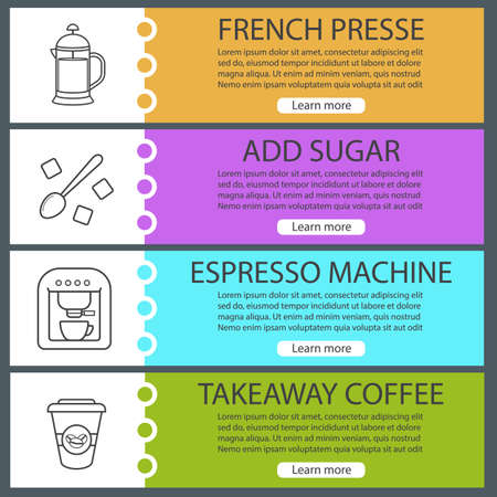 teaspoon: Coffee web banner templates set. French press, sugar with teaspoon, espresso machine, takeaway paper cup. Website color menu items with linear icons. Vector headers design concepts Illustration