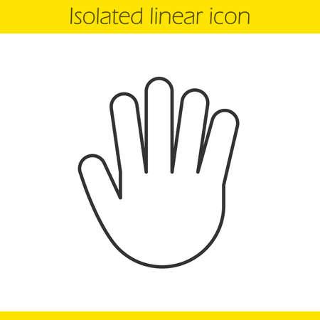 パーム線形アイコン。細い線の図。停止, 挨拶, 5 高い手のしぐさ。輪郭のシンボル。ベクトル分離外形図