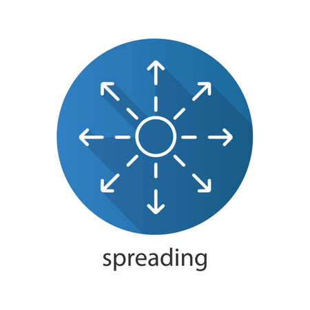 dissemination: Spreading flat linear long shadow icon. Distribution abstract metaphor. Vector line symbol Illustration