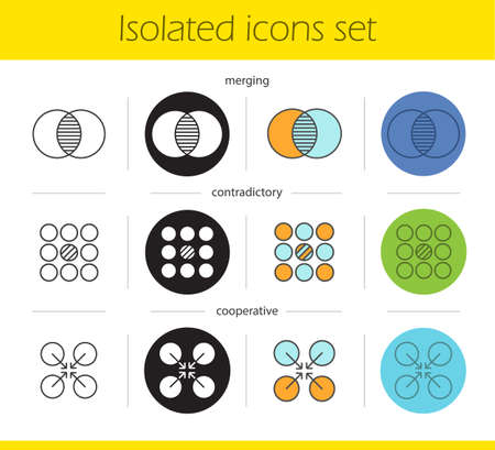 Abstract symbols icons set. Linear, black and color styles. Merging, contradictory, cooperative concepts. Isolated vector illustrations Illustration