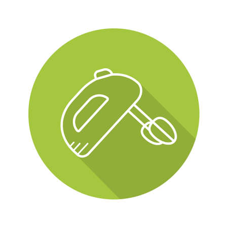 Hand mixer flat linear long shadow icon. Vector outline symbol Illustration