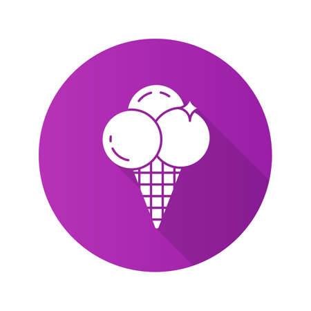 confection: Ice cream flat design long shadow icon. Ice cream balls in waffle cone. Vector silhouette symbol
