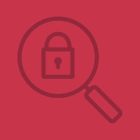 tool unlock: Password search color linear icon. Magnifying glass with closed lock. Security. Thin line contour symbols on color background. Vector illustration