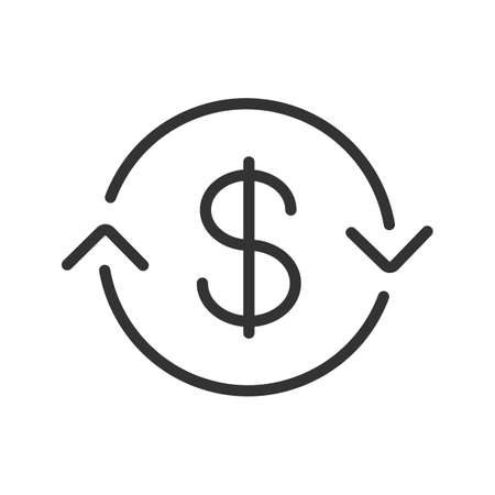 US dollar exchange linear icon. Thin line illustration. Refund contour symbol. Vector isolated outline drawing