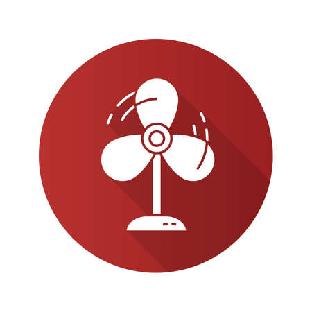 Fan flat design long shadow icon. Ventilator. Vector silhouette symbol Illustration