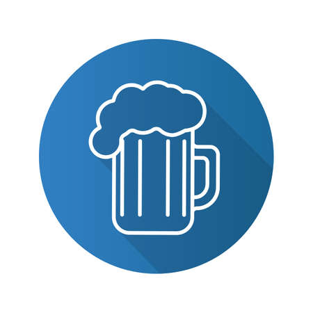 beers: Beer glass flat linear long shadow icon. Vector outline symbol Illustration