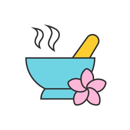 Spa Salon Mörtel und Pistill Farbe Symbol. Aromatherapie Isolierte Vektor-Illustration