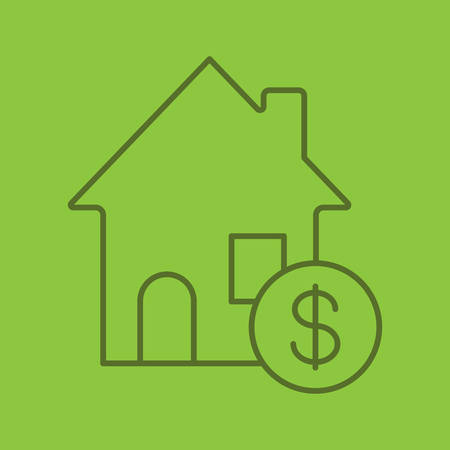 Real estate market color linear icon. Rental house with dollar sign. Thin line contour symbols on color background. Vector illustration Illustration