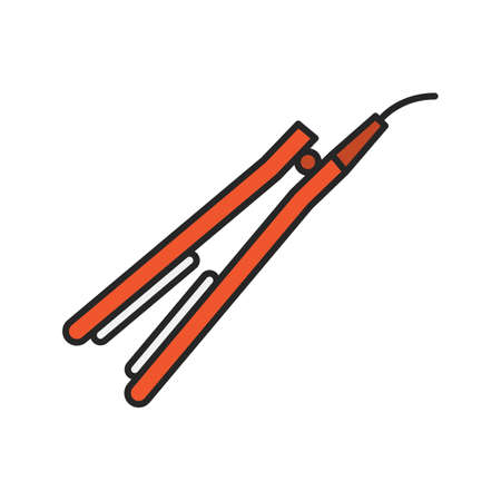 Hair straightener color icon isolated vector illustration Illustration