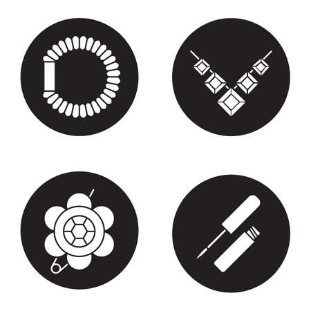 scrunchie: Womens accessories icons set. Brooch, necklace, hair scrunchy, lip gloss. Vector white silhouettes illustrations in black circles