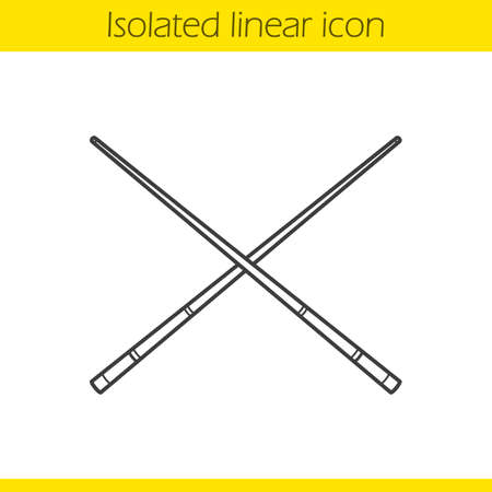 Crossed billiard cues linear icon. Thin line illustration. Contour symbol. Vector isolated outline drawing
