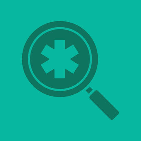 seeking assistance: Ambulance search glyph color icon. Medical assistance. Silhouette symbol. Magnifying glass with star of life. Negative space. Vector isolated illustration