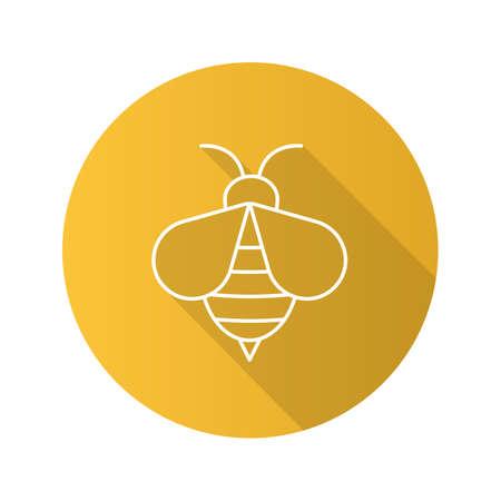 Icona di ape piatta lineare lunga ombra di miele. Vespa. Segno apiario Simbolo della linea vettoriale
