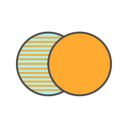 parallelism: Overlapping symbol color icon. Convergence abstract metaphor. Isolated vector illustration