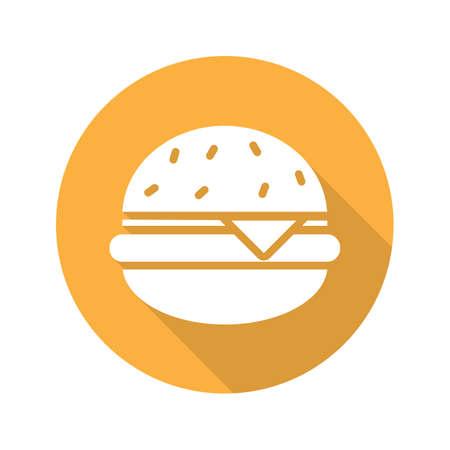 Hamburger flat design long shadow glyph icon. Fastfood cheese burger. Vector silhouette illustration