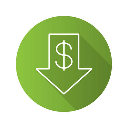 Dollar rate falling flat linear long shadow icon. US dollar with down arrow in Vector outline symbol