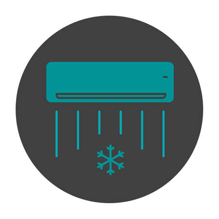 Air conditioner glyph color icon. Silhouette symbol on black background. Negative space. Vector illustration Illustration