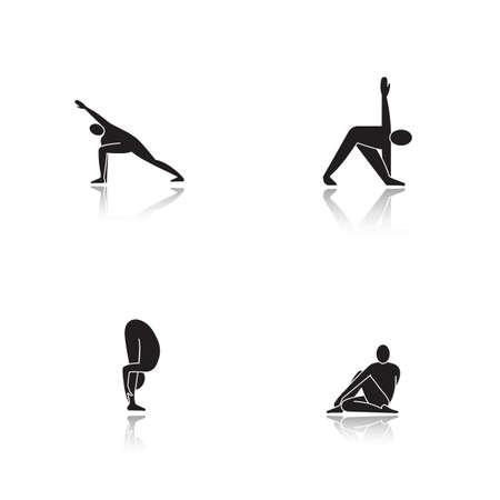Yoga asanas drop shadow black icons set. Utthita parsvakonasana, trikonasana, uttanasana, ardha matsyendrasana yoga positions. Isolated vector illustrations Illustration