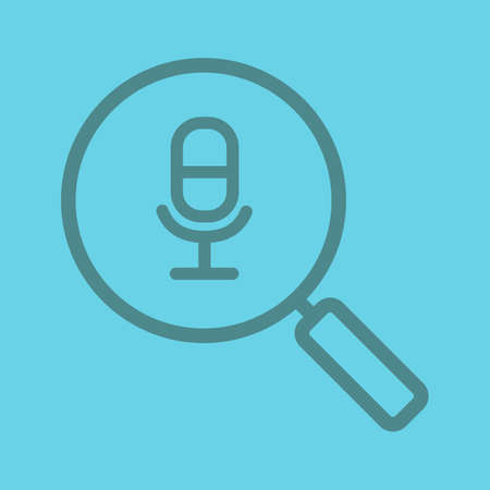 voice recorder: Magnifying glass with microphone color linear icon. Thin line contour symbols on color background. Vector illustration