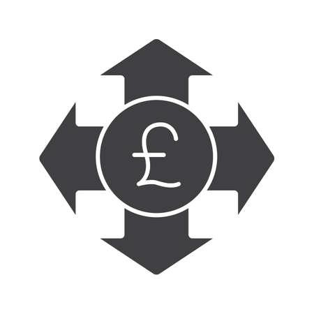 Geld ausgeben Glyph-Symbol. Wendet Silhouette Symbol. Großbritannien Pfund mit allen Richtungspfeilen. Negativer Raum. Vektor isoliert Abbildung