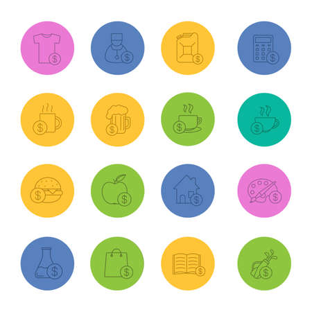 clip art cost: Commercial items linear icons set: Buy food, petrol, books, research, real estate, clothes, art and sports goods in thin line outline symbols on color circles, Vector illustrations