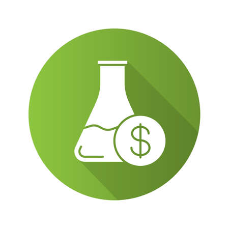 clip art cost: Research price flat design long shadow glyph icon. Chemical lab beaker with a dollar sign in Vector silhouette illustration Illustration