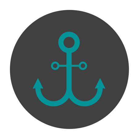 black moor: Anchor glyph color icon. Silhouette symbol on a black background, negative space Vector illustration
