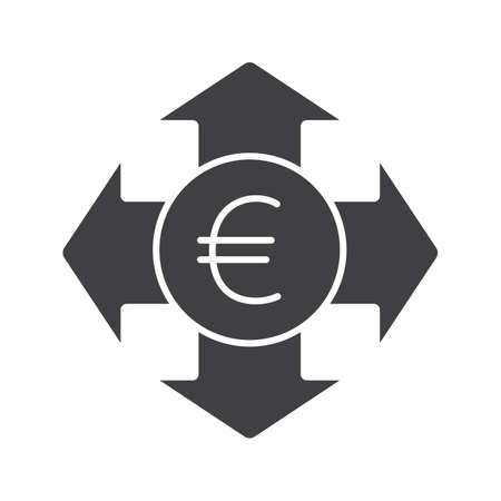 trade union: Money spending glyph icon. Silhouette symbol. Euro with all direction arrows. Expanses. Negative space. Vector isolated illustration Illustration