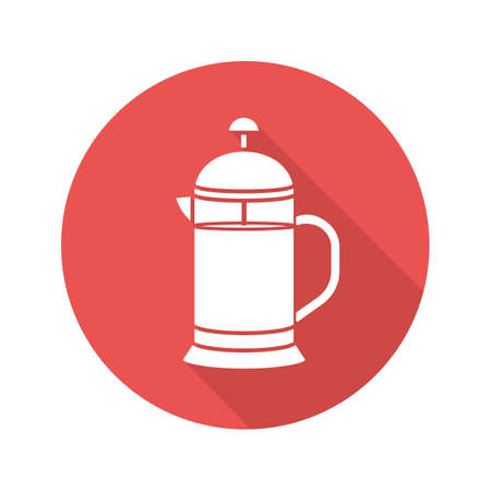 French press flat design long shadow glyph icon. Brewing tea pot. Vector silhouette illustration Illustration
