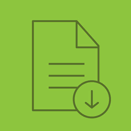 treaty: Download document color linear icon. Text file with download arrow. Thin line outline symbols on color background. Vector illustration